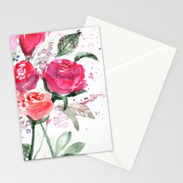 Abstract Watercolor Red Roses Stationery Cards
