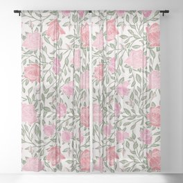 Modern Vintage Chic Blush Pink Forest Green Floral Sheer Curtain