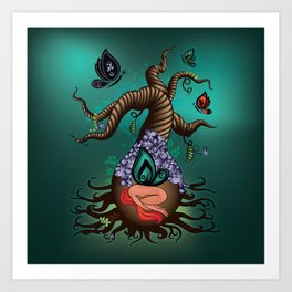 Gnarly Butterfly Tree Art Print