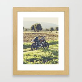 Moto guzzi, café racer, photo in south italy, man cave. Scrambler, fine art, motorcycle, motorbike Framed Art Print