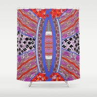 geo Shower Curtains featuring GEO by RED ROAD STUDIO