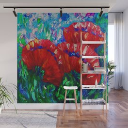 3 Poppies  by Lena Owens Wall Mural