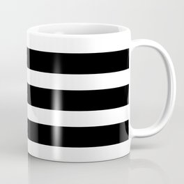 Wide Horizontal Stripe: Black and White Coffee Mug