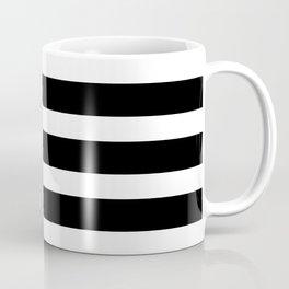 Wide Horizontal Stripe: Black and White Coffee Mug