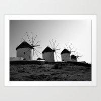 regina mills Art Prints featuring Wind mills by Regina Trifeau