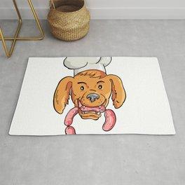 Chef Dog Biting Sausage String Cartoon Color Rug