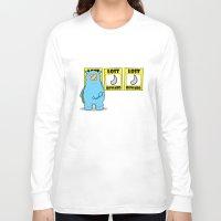 rhino Long Sleeve T-shirts featuring rhino by chee weng