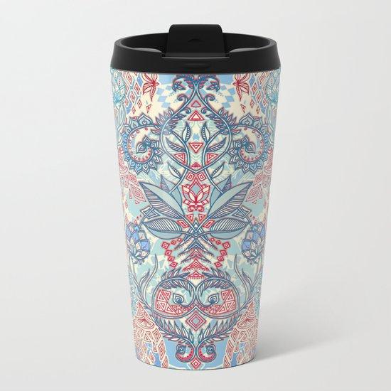 Botanical Geometry - nature pattern in red, blue & cream Metal Travel Mug