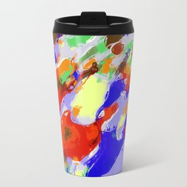 camouflage pattern painting abstract background in red blue green yellow brown purple Travel Mug