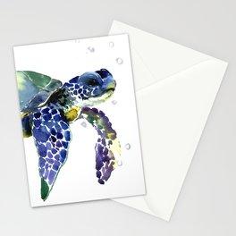 Sea Turtle, Beach Art, Nautical Aquatic Underwater Scene Blue Green Turtle Stationery Cards