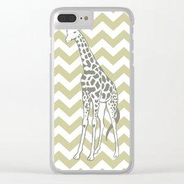 Serenegeti Safari Chevron with Pop Art Giraffe Clear iPhone Case