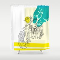 moto Shower Curtains featuring Vintage BSA Super Rocket Motorcycle Art Print by Matylda Mcilvenny