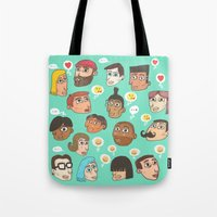 emoji Tote Bags featuring emoji talk by Hugo Lucas