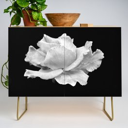 White Rose On Black Credenza