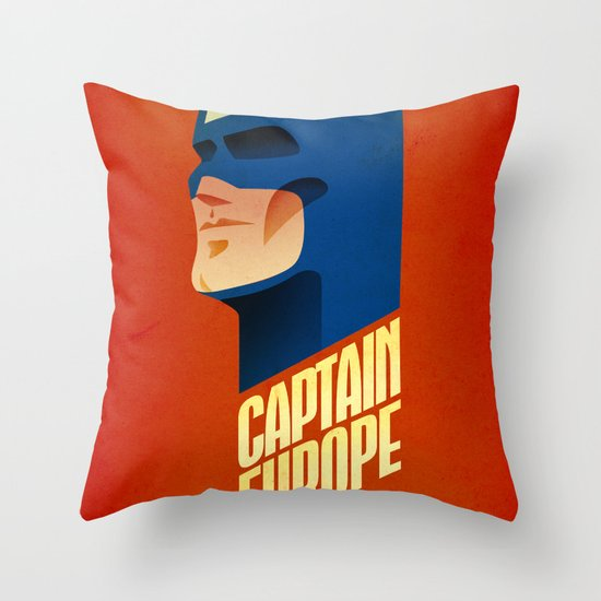 Captain Europe Throw Pillow