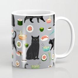 black cat sushi cat lover pet gifts cute cats Coffee Mug