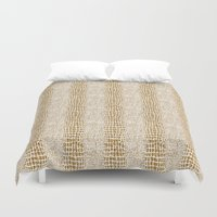 gold glitter Duvet Covers featuring Gold Glitter Alligator Print by Zen and Chic