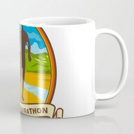 Country Marathon Run Oval Retro Coffee Mug