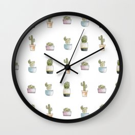 Watercolor Succulent Pattern Wall Clock