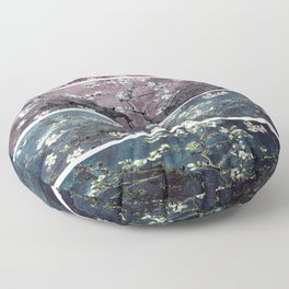 Vincent Van Gogh Almond Blossoms Panel Dark Pink Eggplant Teal Floor Pillow