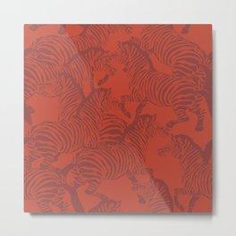Zebra Stampede in Rust Red Metal Print
