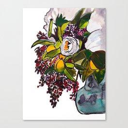 Lemons and Berries Inky Watecolor Canvas Print