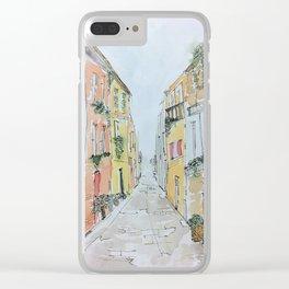 European Street Watercolor Clear iPhone Case