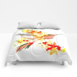Hummingbird and Flame Colored Flowers, yellow red floral art design Comforters