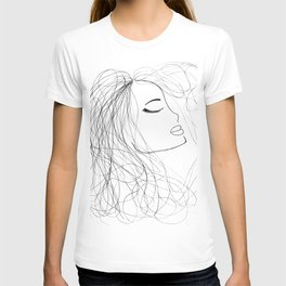 Sketch of a Girl. From my Coloring Book by Jodi Tomer. Curly Hair, Beautiful Girl T-shirt