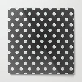 Dark Slate Grey Thalertupfen White Pōlka Large Round Dots Pattern Metal Print