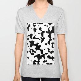 Large Spots - White and Black Unisex V-Neck