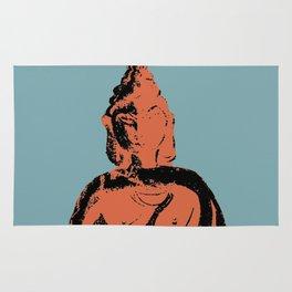 Graphically Bold Buddha on Blue Rug