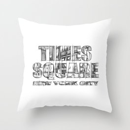 Times Square New York City (sketch) Throw Pillow