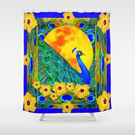 YELLOW HIBISCUS FULL GOLDEN MOON  BLUE PEACOCKS Shower Curtain