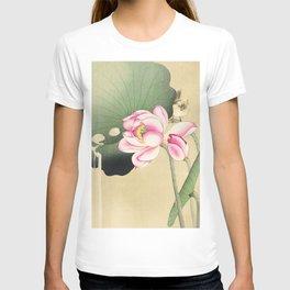Bird sitting on lotus flower  - Vintage Japanese Woodblock Print Art T-shirt