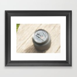 A lens is still viewing. Framed Art Print