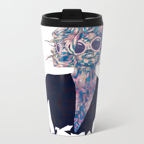 Pastel Light Four Eyes Metal Travel Mug