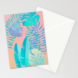Tropics ( monstera and banana leaf pattern ) Stationery Cards
