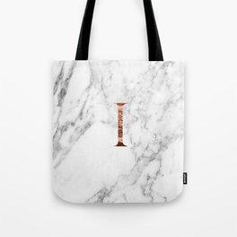 Monogram rose gold marble I Tote Bag