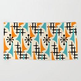 Mid Century Modern Atomic Wing Composition Orange & Blue Beach Towel
