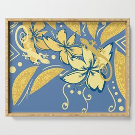 Samoan Orchid Sunset Polynesian Floral Serving Tray