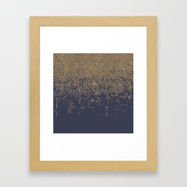 Navy Blue Gold Sparkly Glitter Ombre Framed Art Print