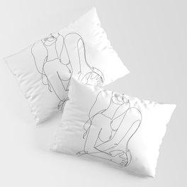 kissing Naked Sensual Lesbian one line art Pillow Sham