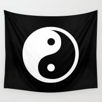 ying yang Wall Tapestries featuring Yin Yang Black White by Beautiful Homes