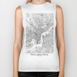 Philadelphia White Map Biker Tank