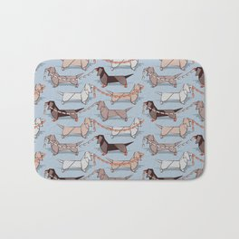 Origami Dachshunds sausage dogs // pale blue background Bath Mat