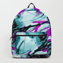 All Over Abstract Pollock Style Aqua and Magenta Backpack