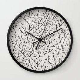 Berry Branches – Silver & Black Wall Clock