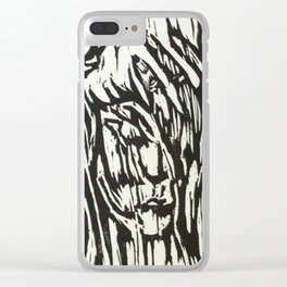 Tree Woman- Woodcut Clear iPhone Case