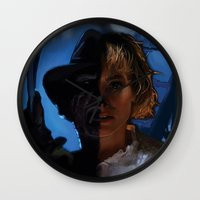 freddy krueger Wall Clocks featuring Freddy Krueger - Never Sleep Again by Saint Genesis